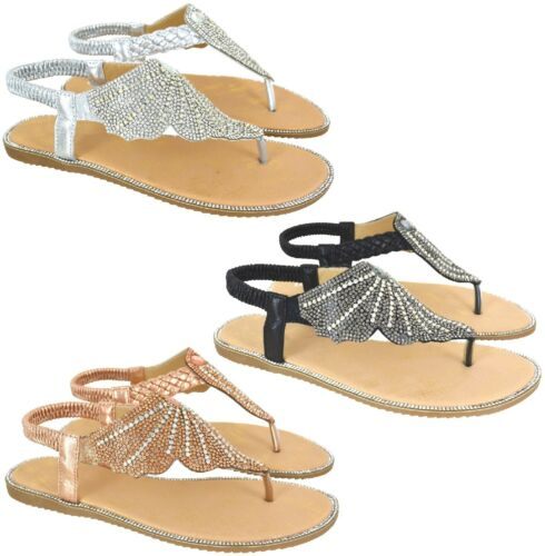 LADIES DIAMANTE TOE POST SUMMER SOFT SHOES WOMENS BEACH HOLIDAY SANDALS SIZE 3-8