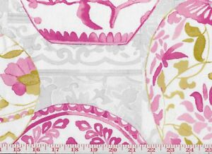Image Is Loading Pink Ginger Jar Cotton Print Drapery Fabric By