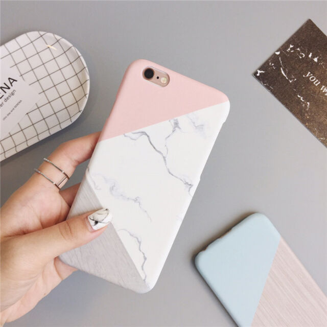 Granite Marble Contrast Color PC Hard Phone Cover Case for iPhone Samsung Phones
