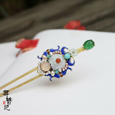High Quality Chinese Classical Women Hairpin Natural Jade Cloisonne Natural Peal