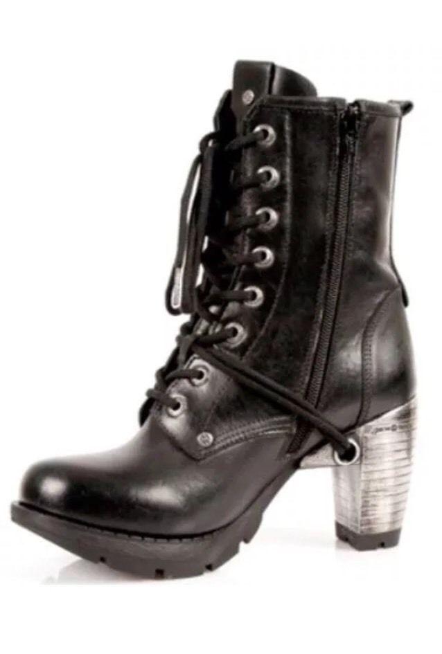 sport dello shopping online NEW NEW NEW Rock TR001-S1 Donna Classico Stringati In Pelle Nera con Zip Laterale Stivali Da Motociclista  prezzo ragionevole
