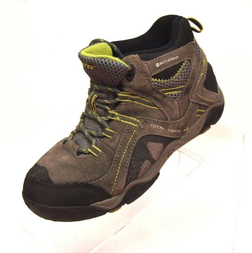 HITEC Outdoor HIKING BOOTS Size: 3  WATERPROOF Gray Brown Green Total Terrain