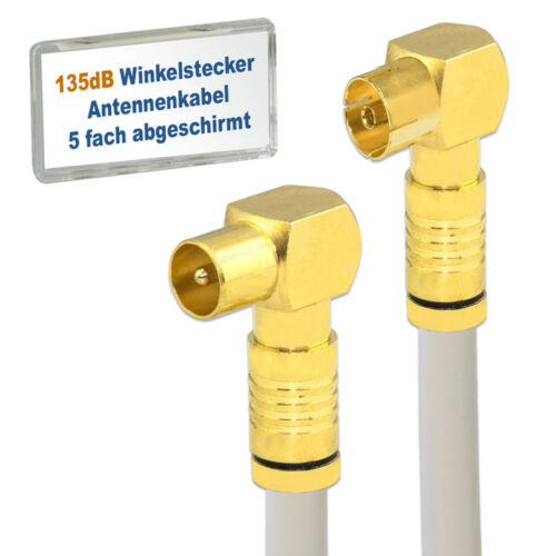 TV Antennenkabel WINKEL Koax-Stecker Buchse 135dB 5-fach geschirmt Kabel 135dB