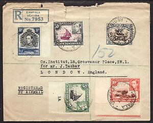 1943 KUT Kampala Uganda registered cover WWII multi franked airmail postal cover