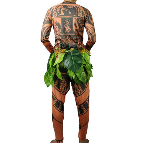 Leaves Pants Movie Moana Maui Cosplay Costume Full Sets  BodySuit Sweatshirt