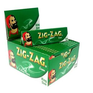 10-x-ZIG-ZAG-KING-SIZE-GREEN-SMOKING-CIGARETTE-ROLLING-PAPERS-GENUINE