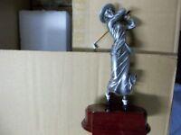 Vintage Female Golfer, Golf Resin Award Trophy Plaque W/ Engraving, About 6 H