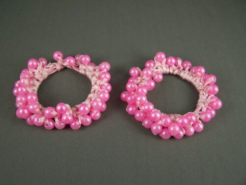 Set pack 2 Pink faux pearl beaded stretch ponytail holders scrunchies scrunchy