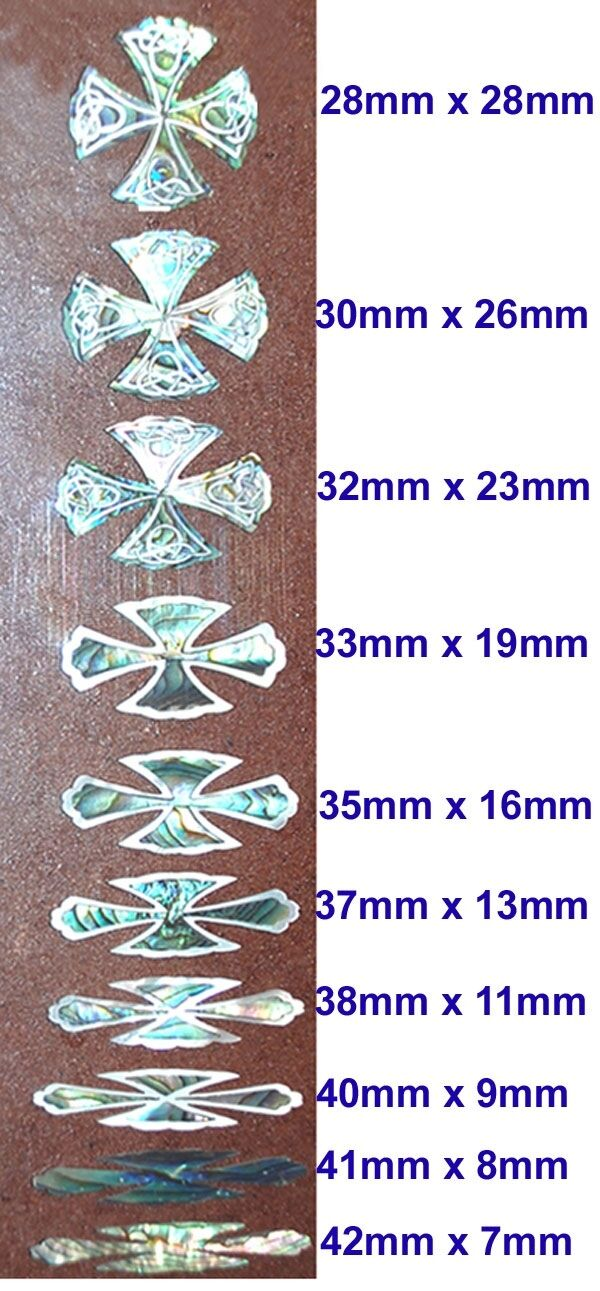 FR22  Square Cross Fretboard Set Weiß Mother of Pearl & Abalone 1.5mm thickness