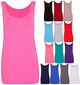 Womens-New-Sleeveless-Ladies-Scoop-Neck-Stretch-T-Shirt-Vest-Tank-Top-Plus-Size