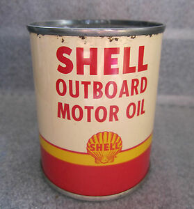 old shell ourboard motor oil 1 2 pint tin can clean. Black Bedroom Furniture Sets. Home Design Ideas