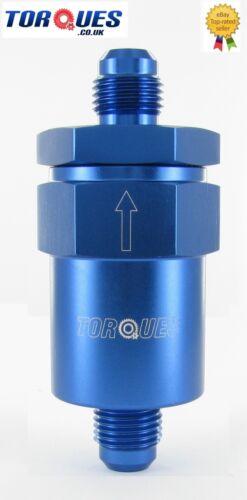 AN Blue Anodised Billet Aluminium Fuel Filter 30 Micron 6 -6 JIC AN06
