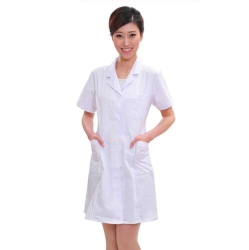Womens Lab Coat Doctors Surgeon Scientist Outfit Fancy Dress Costume Long Jacket