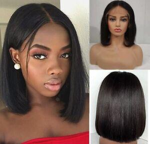 Brazilian-Virgin-Human-Hair-Lace-Front-Wig-Short-Bob-Full-Wigs-Baby-Hair-Black