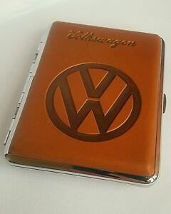 Edles-Zigarettenetui-VW-Lederoptik-fuer-16-Zigaretten-Zigarettenbox-Metall