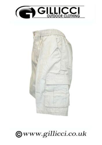 Mens Plain Elasticated 7 Multi Pockets Casual Shorts Cotton Beach Cargo Combat
