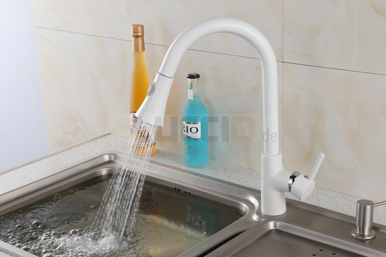 Edle Granit Küchen Armatur Einhand Mischbatterie ausziehbarer Wasserhahn in Weiß | Große Klassifizierung  | Zu einem erschwinglichen Preis  | Shopping Online  | Schönes Design