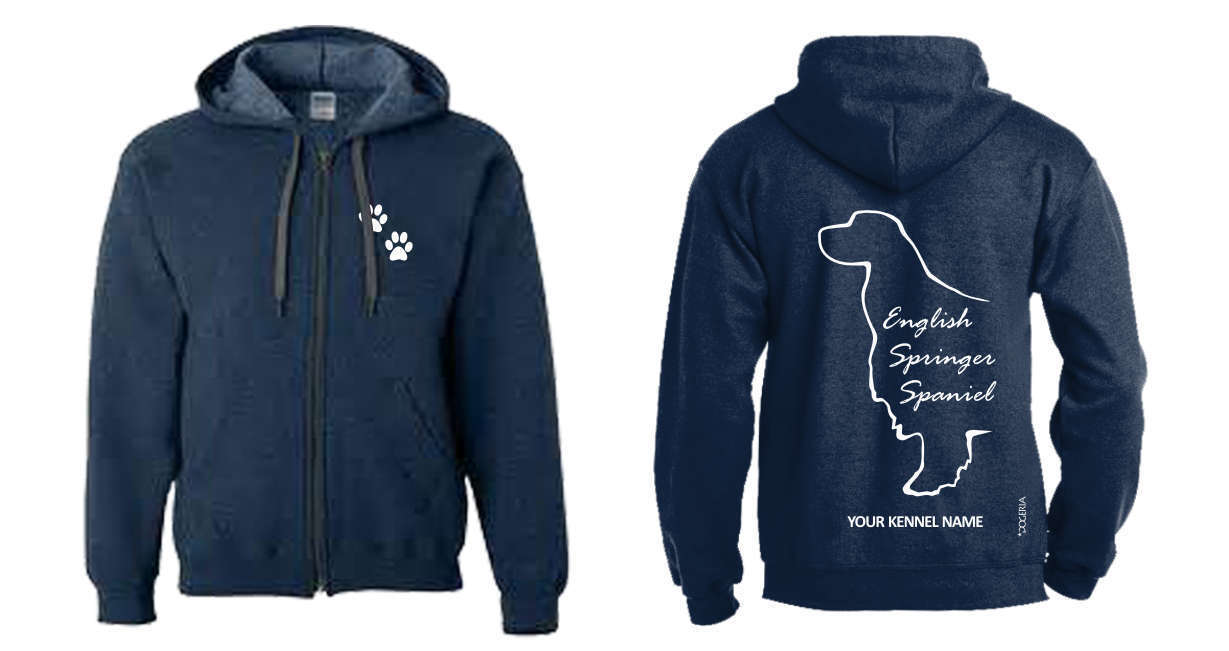 English Springer Spaniel Full Zipped Dog Breed Hoodie, Exclusive Dogeria Design