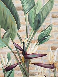 Details about Original Acrylic Painting Tropical Bird of Paradise Flowers  Canvas Olga Tremaine