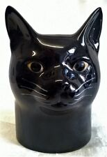 QUAIL CERAMIC BLACK CAT DESK TIDY, PENCIL, PEN, BRUSH POT OR VASE - LUCKY