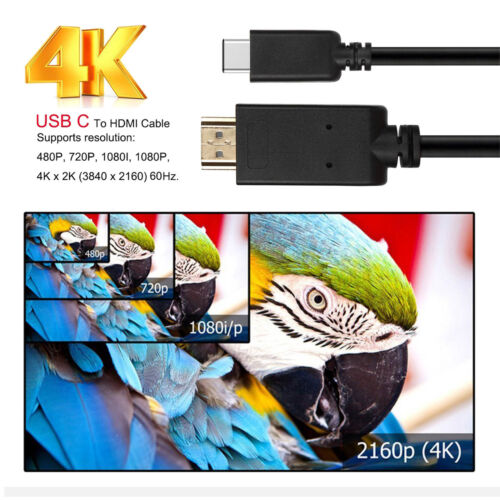 USB C HDMI Cable 4K Type C to Thunderbolt 3 HDMI Adapter Fr Samsung S9 S8