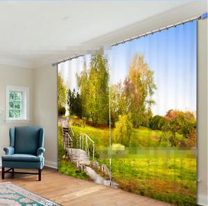 3D árbol de campo 0 Cortinas de impresión de cortina de foto Blockout Tela Cortinas Ventana CA