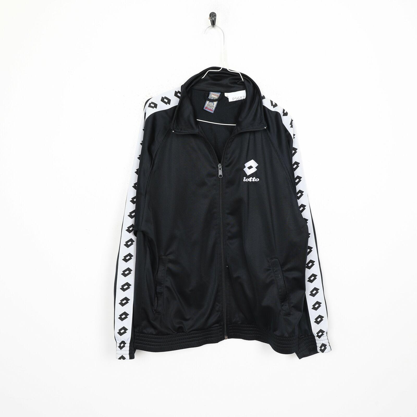 90s LOTTO Tape Arm Logo Tracksuit Jacket Black | Medium M