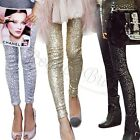 Rockabilly Womens Sequins Leggings Pants METALLIC Stretch Long Trousers Clubwear