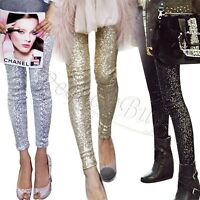 Rockabilly Womens Sequins Leggings Pants METALLIC Stretch Long Trousers Clubwear