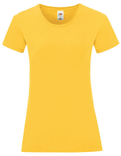 Damen T-Shirt Kurzarm Shirt Baumwolle Rundhals von Fruit of the Loom Slim Fit
