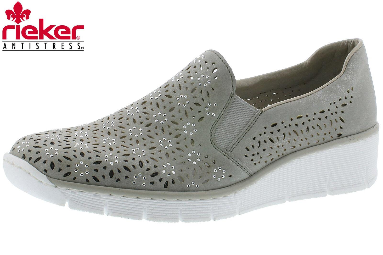 Rieker Damen Slipper Beige Grau Metallic Strass Sommer Halbschuhe 537L7-40 NEU