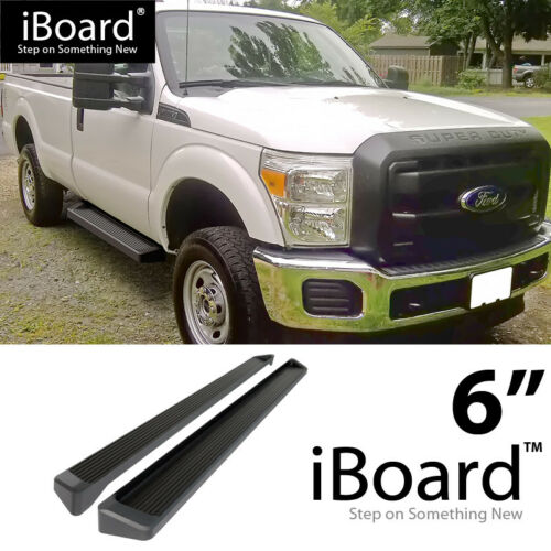 Running Board Style Side Step 6in Black Fit Ford F250//F350 Regular Cab 99-16