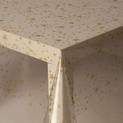 Plastique transparent vinyle facile à nettoyer nappe paillettes étoiles floral sparkle effet
