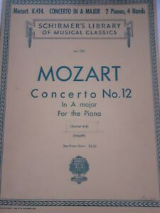 Partituras-SCHIRMER-039-S-Library-Of-Musical-Mozart-Concerto-N-12-For-The-Piano