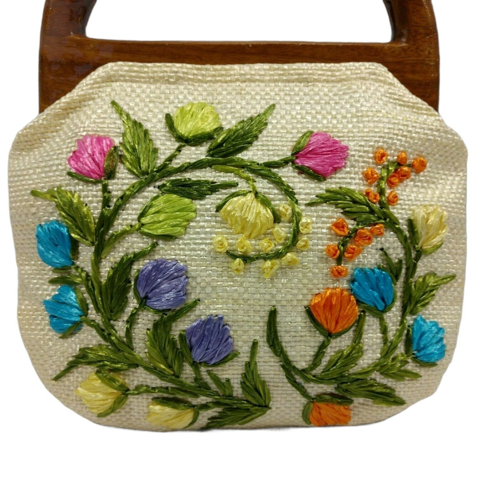 Vintage 60s Raffia Handbag Floral Print Top Handl… - image 2