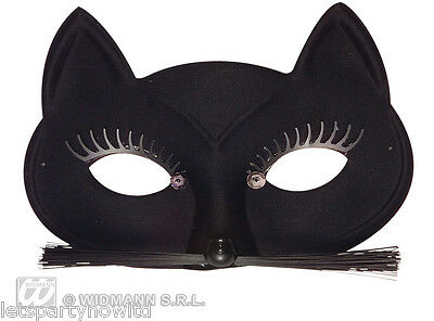SATIN FINISH BLACK CAT EYEMASK WITH WHISKERS CATWOMAN CARNIVAL FANCY DRESS