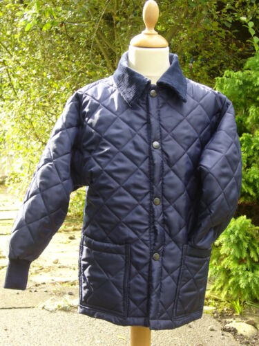 CHILDRENS HORSE QUILTED RIDING COATJACKET NAVY NEW