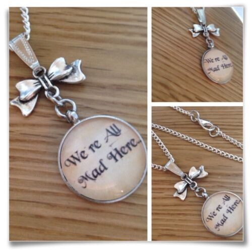 Alice in Wonderland we are all mad here Hatter Bow Necklace V3