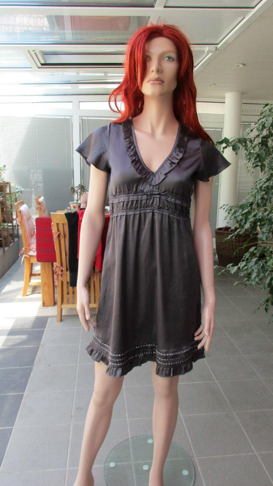 DEPT - süßes Kleid im Empirestil, Rüschen,V-Ausschnitt, aubergine/grau, Gr. XS