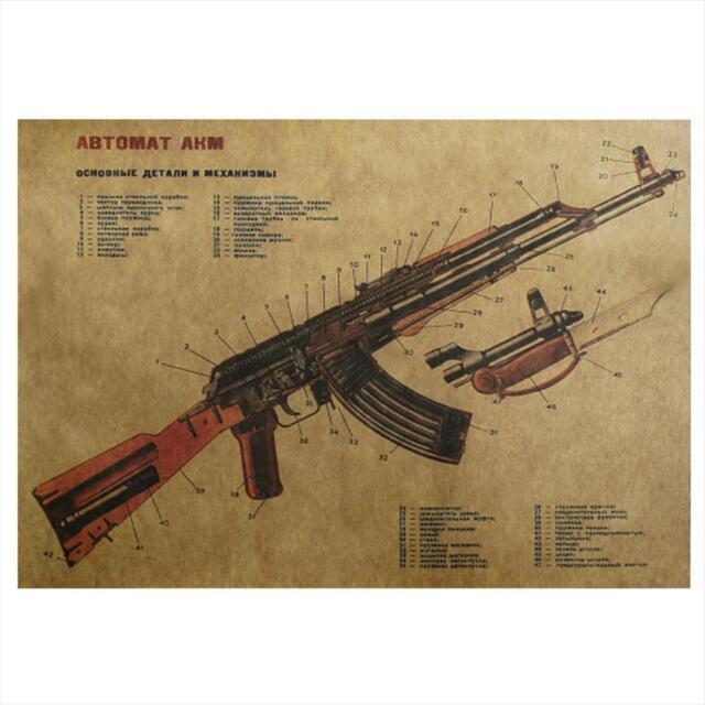 vintage ak-47 structure schematic wall sticker sitting room kraft wall sticker,