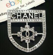 CHANEL Silver Crystal Coco Shield Badge Crest CC Brooch Pin BNIB Sold Out NWT