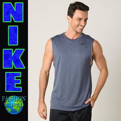NEW Mens Nike Breathe Sleeveless Dri-Fit Black Tank Top 832863 010 Black SMALL