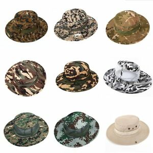 aabf63afc25 Men Women Army Camo Hunting Fishing Hiking Outdoor Cap Bucket Boonie ...