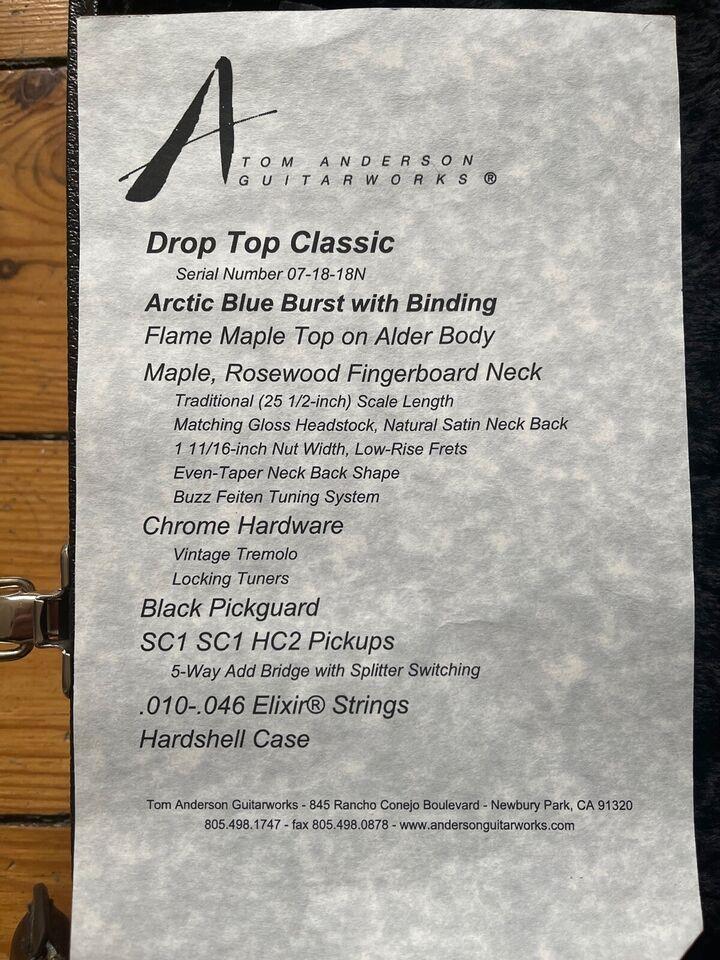 Elguitar, andet mærke Tom Anderson Drop Top classic