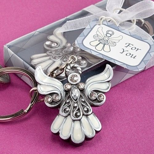 40 Angel Wing Keychain Christening Baptism Communion Religious Party Favors