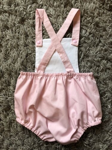 baby girls pink handmade peter rabbit romper outfit 9-12 months
