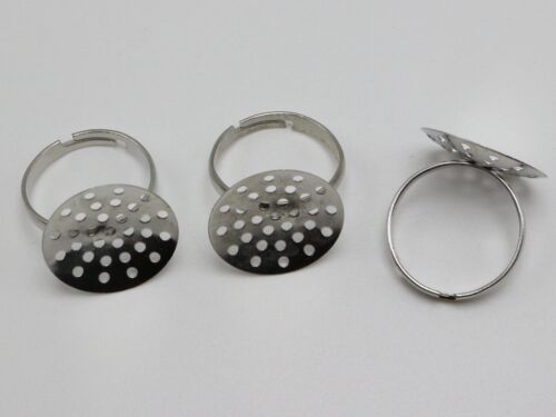 50 Silver Tone Adjustable Ring Blank Findings on Base 18mm Mesh Sieve Pad