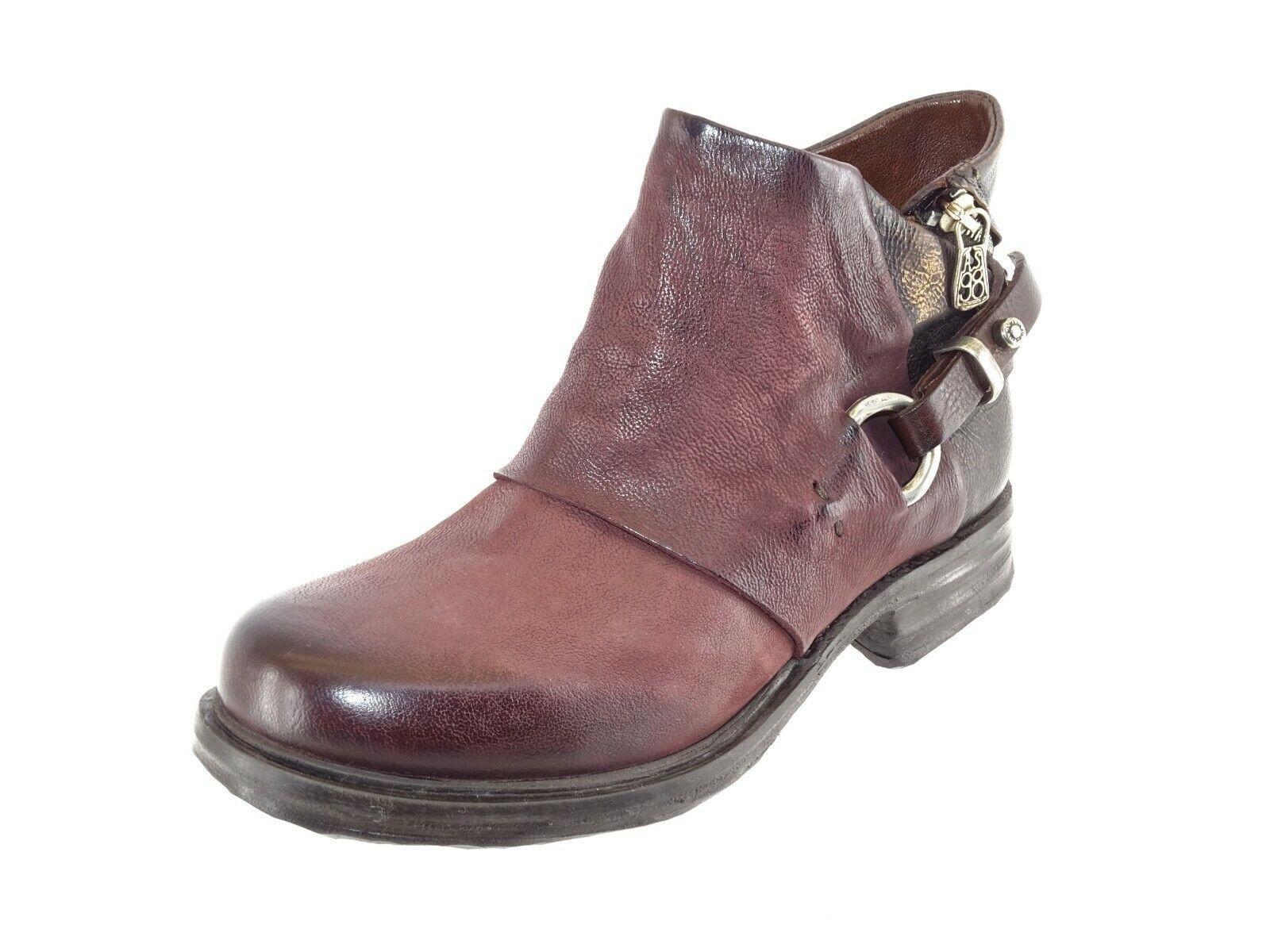 A.S.98 Damen Stiefel Biker Stiefel Used Look Bordeaux Leder