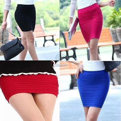 Sz AU 8 10 Mini Skirt Bandeau Bandage Micro Pleats Top Slim Stretch Sexy Bodycon