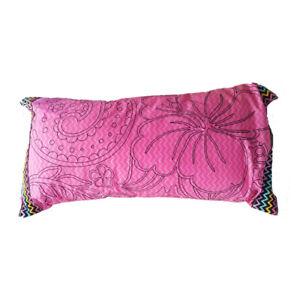 Jinx-Cindy-Pink-Surf-Black-Trim-Hawaii-Hibiscus-Floral-Oblong-Large-Cushion